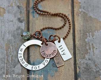 i wished for you - Mixed metal necklace with personalized name pendants and aqua drop
