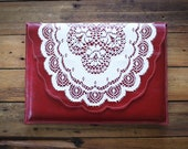 Red leather laptop sleeve, 13inch macbook, vintage doily