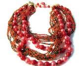 Multi Strand Necklace Seed Bead Faux Pearl Japan Boho