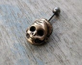 Belly ring Barbie skull 316L steel & bronze