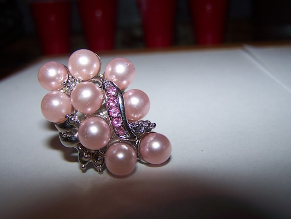 Pink Faux Pearl and Rhinestone Cocktail Ring