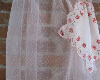 Pink and White Polka Dot Sheer Half Apron