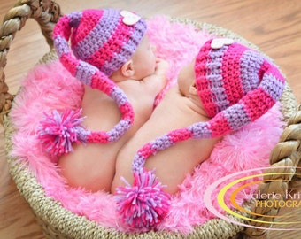 TWINS Crochet Pixie Hats Photography Prop in Your Choice of Colors