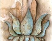 4x6 art print namaste lotus healing hand