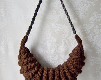 Crochet Purse, OOAK Crochet Handbag, Brown Purse, Purse with Strap