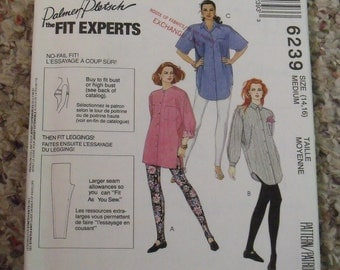 Vintage 1992 Misses Tunic Shirts and Leggings Pattern, McCall's 6239, Medium, Sizes 14 and 16, Uncut, Women's Clothing, Mother's Day