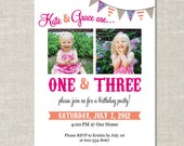 Bunting Carnival Custom Double-sided Photo Birthday Invitation (Printable Digital File or Printed)  Double Birthday 1 & 3