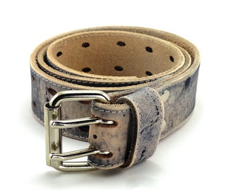Black Distressed Two Prong Leather Belt