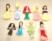 Princess Disney Hair Clip Collection, Hair bow, Hairbow, Hairclip, Hair accessory- Set of 9 Ribbon Scultpture - KutieKlipz