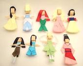 SALE -  Disney Princess Hair Clip Collection, Hair bow, Hairbow, Hairclip, Hair accessory- Set of 9 Ribbon Scultpture