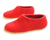 Poppy Red Slippers - Felted Wool Slippers - Christmas in July - Wool Shoes - House Shoes - Rubber Soles - Handmade Slippers - Womens Shoes