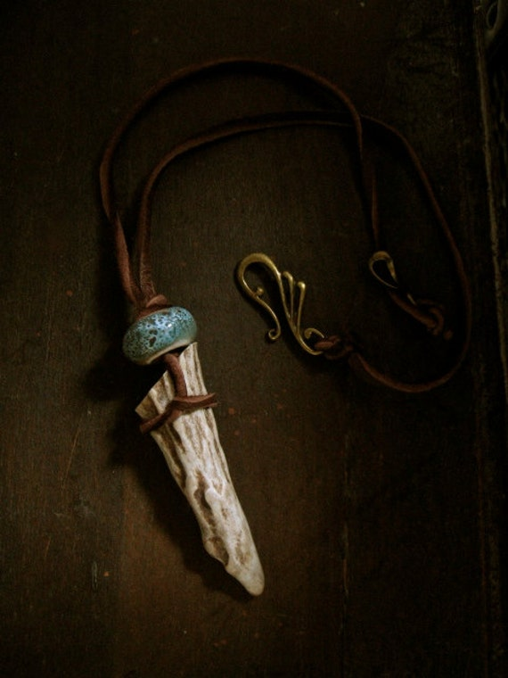 Strength of Artemis-  Antler Tip Necklace