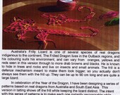 Tatting Pattern Frilled Dragon Australia Fauna