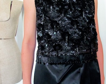 The 1960's Black Beaded and Sequined Belle Jacob Ensemble