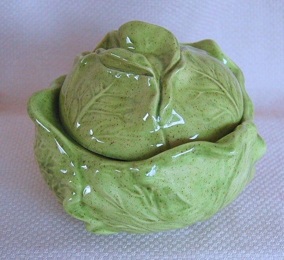 Vintage Ceramic Lettuce Shaped Covered Serving Bowl Circa 1986
