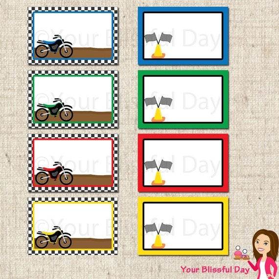 PRINTABLE Motorbike Label Tents (Your choice of color) #557