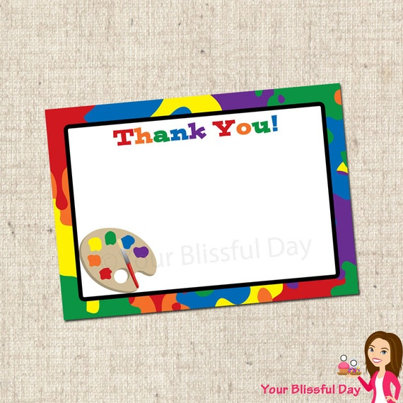 PRINTABLE Painting Party Thank You Cards #562