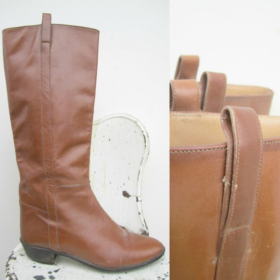 1960's knee high. leather boots. brown. vintage boots. Sz 8.5
