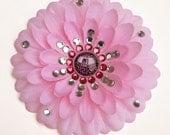 R2-KT Pink Penny Blossom Rhinestone Flower Barrette