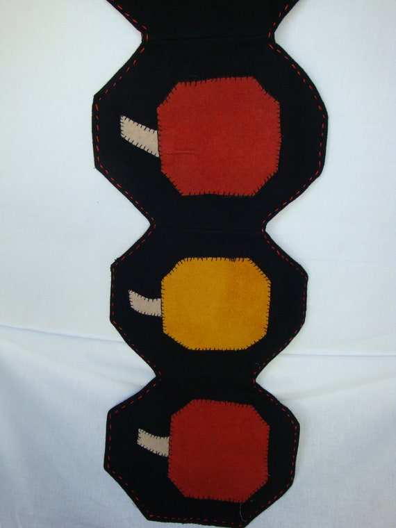 pumpkin table runner, table decoration, gold black and orange table runner, black felted wool washable table runner, hand made home decor