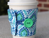 Fabric Coffee Cup Coozie / Reusable Drink Sleeve - Blue and Green Honey Child by Jennifer Paganelli