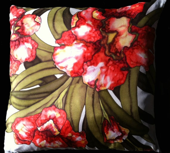 ALL ABOUT RED - Decorative Hand Painted Silk Throw Pillow - Made-to-Order