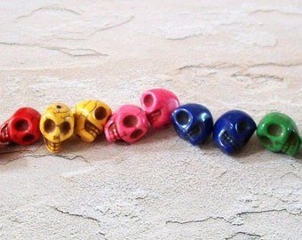 Pairs of Tiny 12mm Multi Colored Stone Skull Beads
