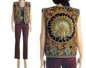 Vintage 70s Boho Vest - Ethnic Velvet Sequin Peacock Ornate Waistcoat Top - M / L