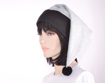 Black Gray Stocking Cap Pointed Winter Grey Elf Hat Long Tail Hat for Adult Men Women Pointy Beanie