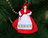 Denmark clothespin doll ORNAMENT - red, white and flower dress, ready to ship