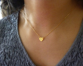Heart Initial Necklace-Initial Heart Necklace-Personalized Heart Charm Necklace-Rose Gold Initial Necklace-Monogram Necklace-Momentusny