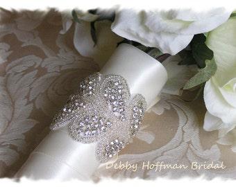 Rhinestone Crystal Bridal Bouquet Wrap, Beaded Crystal Wedding Bouquet Wrap, Jeweled Bouquet Cuff, Bridal Cuff Bracelet, No. 3040BW