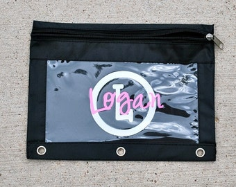 Preppy Personalized Pencil Bag - Circle Initial