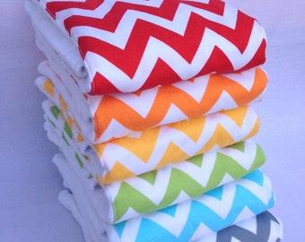 Rainbow Chevron Burp Rags 6-pack Cloth Diaper Set