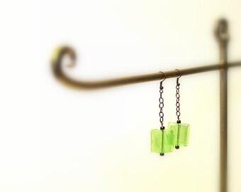 Glass and Chain Dangle Earrings, Brass Chain, Hooks, Square Bohemian Earrings