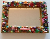 Mirror Funky Colorful Wooden Mosaic Outsider Art Wall Mirror for the Home