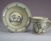 Stoneware  Baby Mug and Bowl Set Puppy Dog Design