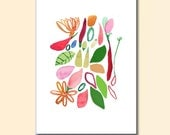 Art print Kitchen Wall decor 6 x 8 print colorful mix flowers peppers leaves red green pink
