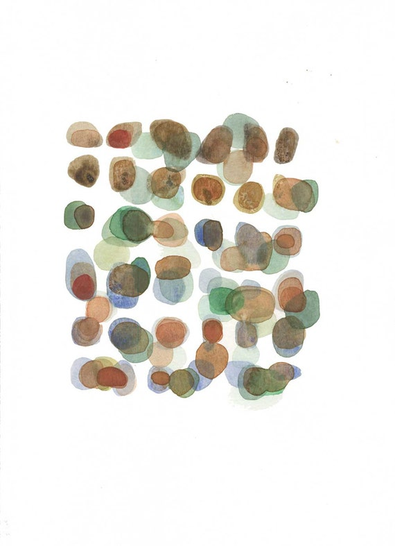 Fall Candy Original watercolor painting abstract art home decor office decor brown green autumn
