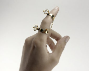 Double Diamond Chain Ring in 14k Gold Vermeil