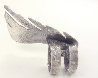 Serafina Ring in Sterling Silver with Textured Surface