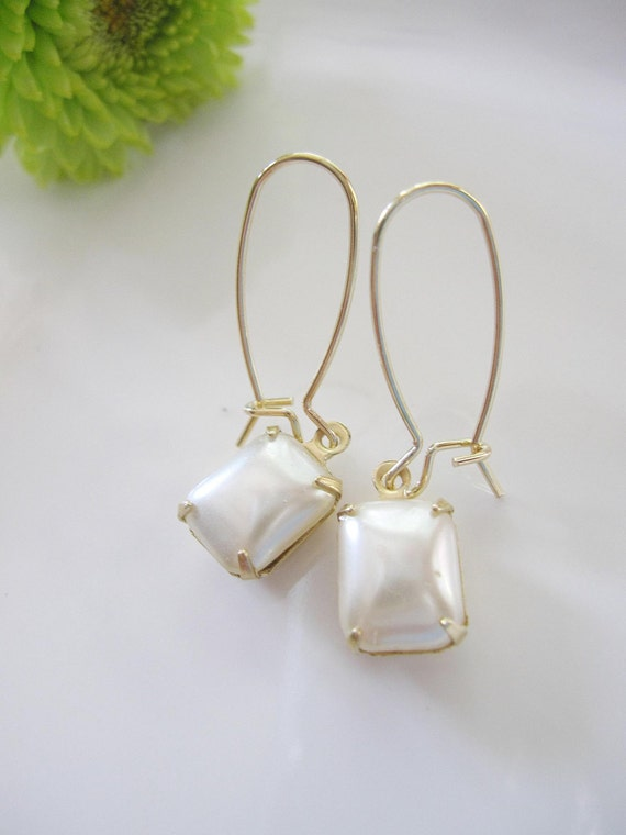 Vintage Pearl Rectangle Drop Earrings on Long Gold Earwires - Understated Bridal Wedding Jewelry