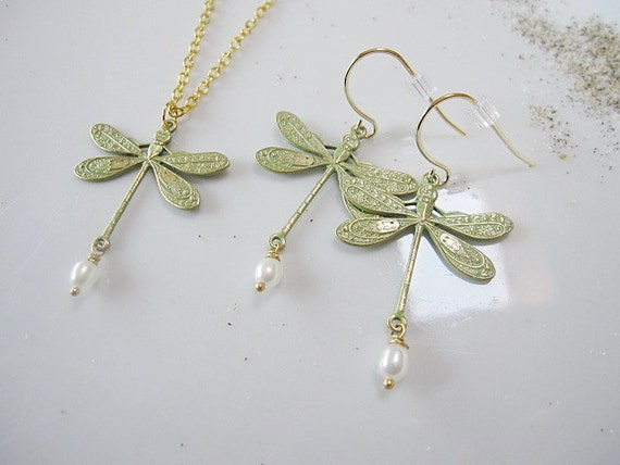 Sage Green Patina Dragonfly Earrings Necklace Set, Bridesmaid Jewelry, Gift for Her, Wedding