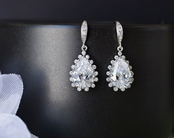 Bridal Earrings, Cubic Zirconia Earwires With Clear Cubic Zirconia Teardrops Bridal Earrings, Bridal Jewelry, Wedding Earrings