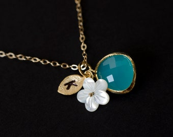 Initial Necklace,Custom Initial Necklace,Monogram Necklace Aqua Blue Glass, Leaf, Mother of Pearl Flower Bridesmaid Gift,Bridesmaid Necklace