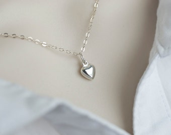 Heart Necklace, Tiny Sterling Silver Puff Heart Charm Necklace, Sterling Silver Charm Necklace, Dainty Everyday Necklace