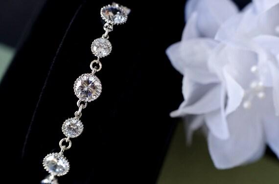 Bridal Bracelet, Cubic Zirconia Bridal Bracelet, Clear Cubic Zirconia Bracelet, Wedding Jewelry, Bridesmaid Bracelet, Bridesmaid Gift