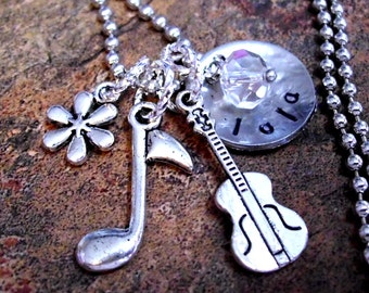 Cello Jewelry, Personalized Musical Note Necklace, Cello Necklace, Music Necklace, Hand Stamped Jewelry