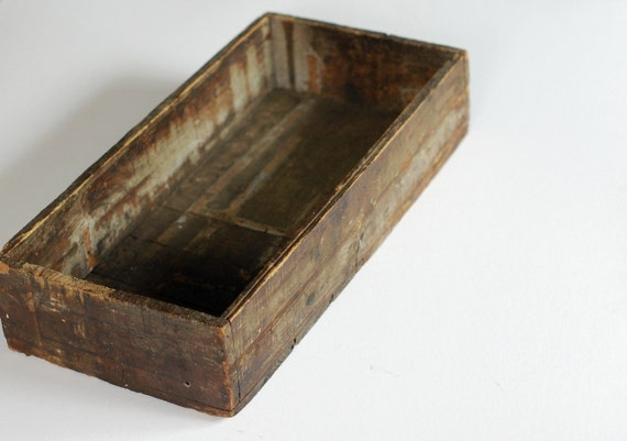 Long Vintage Wood Box - Patchwork Construction - Dark Rustic Patina
