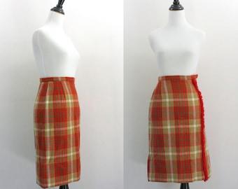 60s wool skirt / plaid pencil skirt / 1960s skirt extra small xs